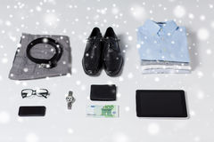 Close up of formal clothes and personal stuff Stock Photos