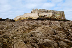 Close up of fortress in Saint Malo. On the beach in France stock image