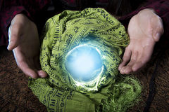 Close Up of Fortune Tellers Crystal Ball Royalty Free Stock Images