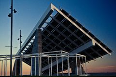Close-up of Forum at sunset. Barcelona's Forum's Solar Panels construction against sunset Royalty Free Stock Images