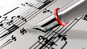 Close-up on a fountain pen of a music composer. 3D rendering. Royalty Free Stock Images