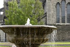 Close-up fountain in the St. Patrick`s park in Dublin. stock photography