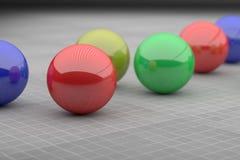 Close-up of four colorful futuristic balls Stock Photo