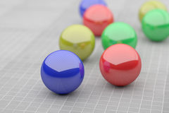 Close-up of four colorful futuristic balls Royalty Free Stock Photo
