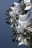 Close up of four outboard boat motors Royalty Free Stock Photography