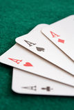 Close-up of four playing cards Royalty Free Stock Image
