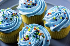 Blue Frosting and Rainbow Sprinkles Royalty Free Stock Images