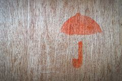 Close up of fragile symbol. On wood board royalty free stock photo