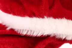 Close up of fragment clothes Santa Claus. Royalty Free Stock Photo
