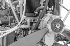 Close up of fragment of delta plane engine, black and white imag Stock Photography