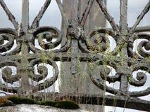 Close up fragment of iron ornamental vintage balkony grid