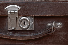 Close-up fragment of lock  on the vintage suitcase Royalty Free Stock Images