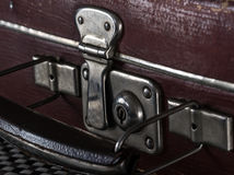 Close-up fragment of locks and fasteners on the vintage leather Stock Photo