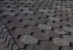 Close up fragment of tiled roof. Selective focus Royalty Free Stock Images