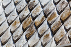 Close up fragment of tiled roof. Selective focus. Stock Photography
