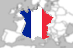 Close up on France on Europe background Royalty Free Stock Images