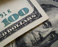 Close up of franklin on one hundred dollar bill. Close up view of franklin on one hundred dollar bill. Benjamin Franklin`s portrait, macro Stock Photo