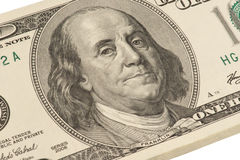 Close up of Franklin's portrait. On one hundred dollar's banknote (isolated Royalty Free Stock Photo