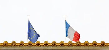 Close-up of French and EU flags. Union Royalty Free Stock Photo