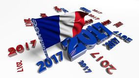 Close up on French flag in the wind with 2017 designs Royalty Free Stock Images