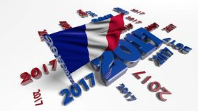 Close up on French flag in the wind with 2017 designs stock video footage