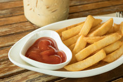 Close up french fries with tomato sauce Stock Photography