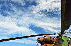 Close-up of the French military helicopter. Rotor blades of the modern military rotorcraft are photographed against the sky Royalty Free Stock Photography