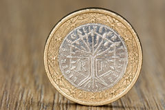 Close up of a French one euro coin Stock Image