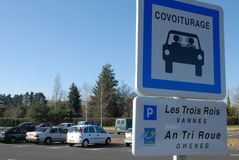French sign indicating carpool parking royalty free illustration