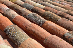 Close-up of the French terracotta tiled roof Royalty Free Stock Photos