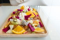 Close up of French toast with Fruit and honey Stock Images