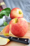 Close up fresh apple with knife Stock Photos