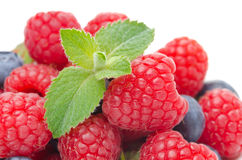 Close-up of fresh berries raspberries, blueberries, strawberries Royalty Free Stock Photos