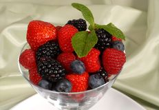 Close up of Fresh berries topped with mint in a martini glass re Stock Photography
