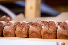 Fresh  black bread. Close-up of fresh  black bread   in a bakery, fresh loaves Stock Image