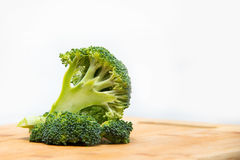 Close up on Fresh broccoli solated on wooden and white background Stock Photos