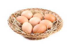 Close up. Fresh Chicken eggs in basket royalty free stock image