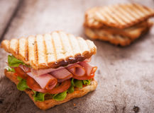 Close up of fresh club sandwich Stock Images
