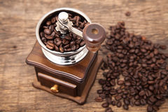 Close up fresh coffee bean in coffee bean grinder. Next to coffee bean on wooden table top Stock Photography