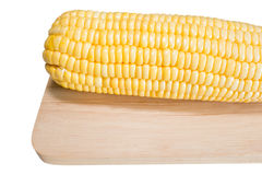 Close-up fresh corn from garden on wood cutting boards in thaila Royalty Free Stock Photos