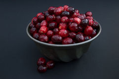 Close Up of Fresh Cranberries in a Vintage Metal Bowl Royalty Free Stock Images