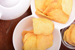 Close-up of fresh, crispy potato chips Royalty Free Stock Image