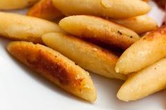 Close up,fresh dumplings,deep fried on plate Stock Photos