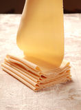 Close up Fresh Flat Pasta Made by Pasta Roller Stock Photo