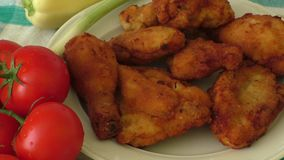 Close up Fresh fried chicken on a white plate stock video footage