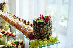 Close up of a fresh fruits on a buffet royalty free stock photo