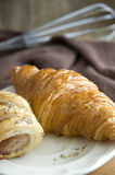 Close up fresh golden croissant Stock Image