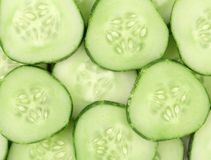 Close up fresh green sliced cucumber. Royalty Free Stock Image