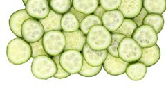 Close up fresh green sliced cucumber. Stock Photos