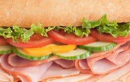 Close-up of a fresh ham & turkey sandwich. Large ham & turkey submarine sandwich - close up Stock Image